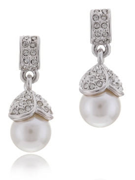 Crystal Pearl Drop Earrings  | Earrings