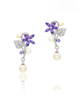 Flower Crystal & Pearl Earrings  | Earrings