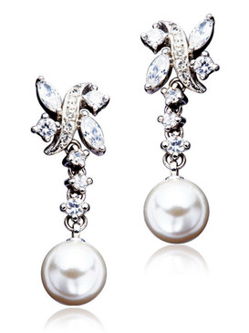 Carolyn's Floral CZ & Pearl Earrings 4 | Earrings