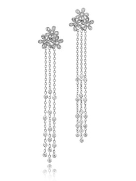 Cluster of  Carnations With Long Crystal Link Drops Dangeling Earrings 32376