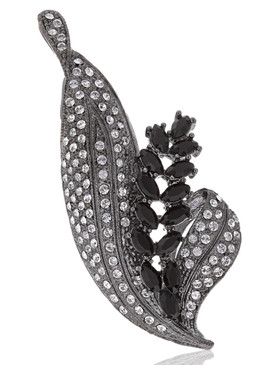 Crystal & CZ Floral Leaf Brooch 83001