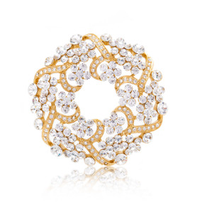 Exquisite Evening Wreath Crystal Pin 82709
