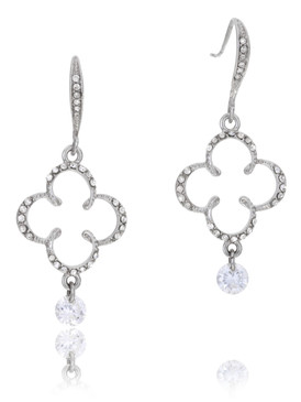 Genuine Rhodium Plated Crystal Floral Earring, Wholesale Fine Fashion Jewelry, JGI Jewelry