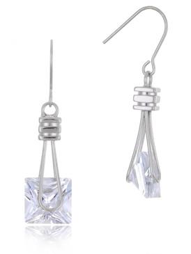 Square CZ Drop Earrings, Cubic Zircona Bridal Jewelry & Wholesale Wedding Accessories | Shop JGI Jewelry