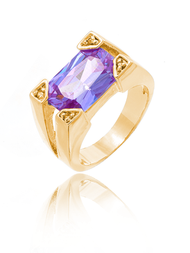 Fancy Amethyst CZ Ring