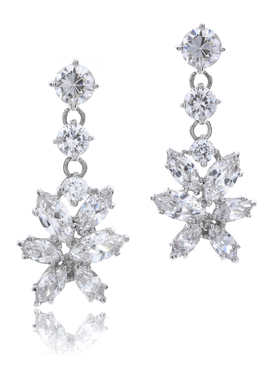 All CZ Drop Rhodium Earring| JGI Jewelry
