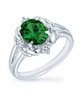 Emerald Center CZ Rhodium Ring| JGI Jewelry