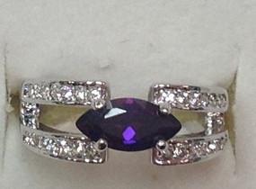 Amethyst CZ Rhodium Ring  JGI Jewelry