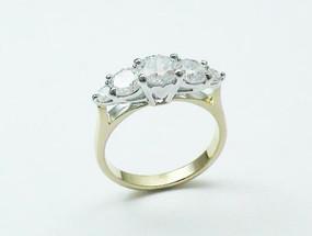 Five CZ Rhodium Ring, 10280