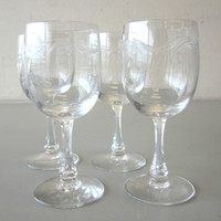 "4 Vintage Signed Fostoria Crystal CAROUSEL Cut Wine Glasses 5"""