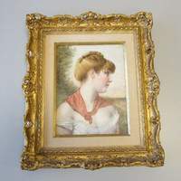 Signed Original Josef Zenisek Oil Painting Portrait Young Woman Gilt Wood Frame