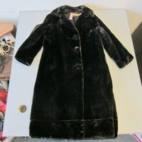 Vintage Sheared Beaver Fur Coat Stroller Dark Brown