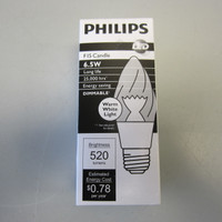 New Philips 435180 6.5W F15 2700K E26 Dimmable LED Candle Decorative Bulb NIB