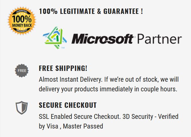 Microsoft Partner Guarantee, Provide legitimate, best price for your satisfaction.