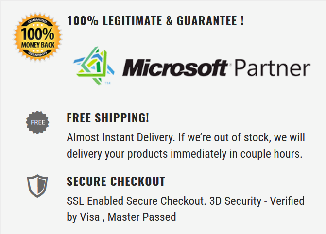 Microsoft Partner Guarantee, Provide legitimate, best price for your satisfaction.