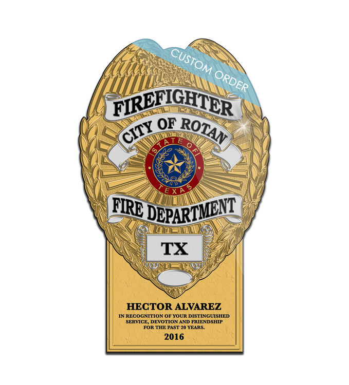 Plaque with a Personalized Tab at the bottom for Fire Rescue, Fire Departments and EMS.