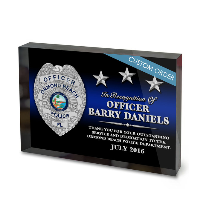Acrylic Block Recognition Award for Law Enforcement, Police & Sheriff Departments.