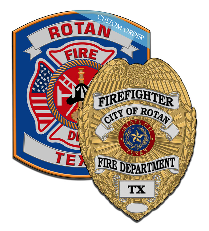 Custom Combo Wall Plaque for Fire Rescue, EMS, Fire Departments, Patch Plaque. Cut to shape, any Patch, Badge, Seal or Logo can be used.