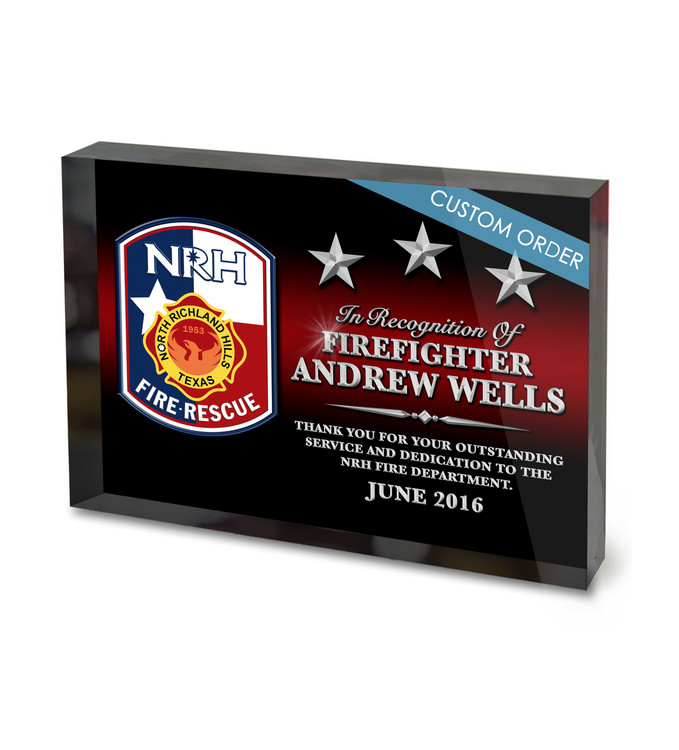"""Fire Department Appreciation and Recognition with Patch, Badge or Logo. Acrylic Award 1""""Thick Block."""