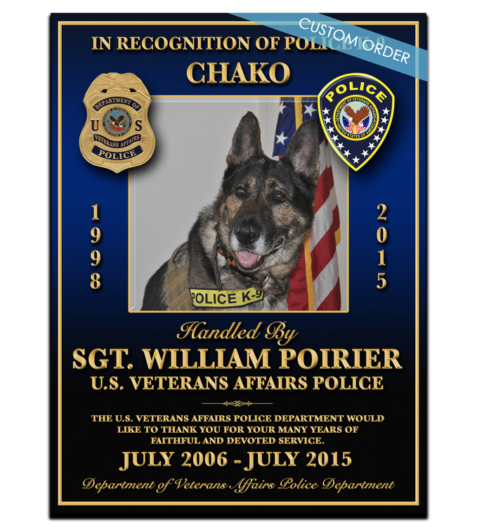 """This is a Custom K9 Plaque! A """"stunning"""" Wood & Acrylic Wall Plaque that really stands out and makes you stop and appreciate it.  Any Patch, Badge, Seal, Logo, Challenge Coin or any Artwork of your choice can be added with Free Setup and Free Shipping.  This is a perfect gift for any Law Enforcement Agency, Government Agency, Military Department, Fire Department, Emergency Service or Organization."""
