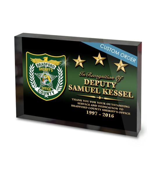 Custom sheriffs retirement award acrylic block for Custom acrylic blocks