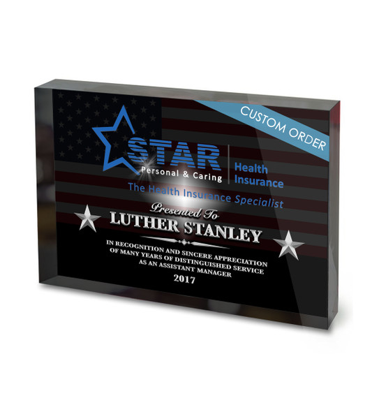 Full color recognition acrylic block for insurance company for Custom acrylic blocks