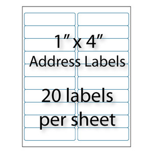 Address labels 4 x 1 20 up avery 5161 5961 for Avery 1 x 4 label template