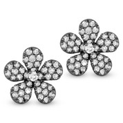 0.55ct Round Cut Diamond Pave Flower Charm Stud Earrings in 14k Black Gold
