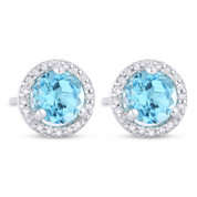 1.31ct Round Cut Blue Topaz & Diamond Halo Martini Stud Earrings in 14k White Gold