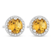 1.06ct Round Cut Citrine & Diamond Halo Martini Stud Earrings in 14k White Gold