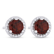 1.31ct Round Cut Garnet & Diamond Halo Martini Stud Earrings in 14k White Gold