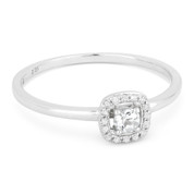 0.13ct Round Cut White Topaz & Diamond Square-Halo Promise Ring in 14k White Gold