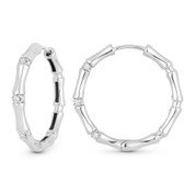 0.14ct Round Cut Diamond Cluster Fashion Hoop Earrings in 18k White Gold