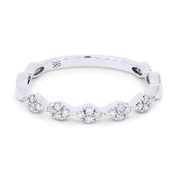 0.14ct Round Cut Diamond Multi-Cluster Stackable Right-Hand Ring / Band in 14k White Gold
