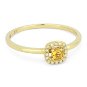 0.14ct Round Cut Citrine & Diamond Square-Halo Promise Ring in 14k Yellow Gold