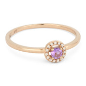 0.15ct Round Cut Pink Amethyst & Diamond Circle-Halo Promise Ring in 14k Rose Gold