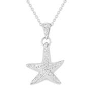 0.16ct Round Cut Diamond Starfish Animal Charm Pendant & Chain Necklace in 14k White Gold