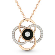 0.17ct Round Cut Diamond Black Enamel Flower Charm Pendant & Chain Necklace in 14k Rose Gold