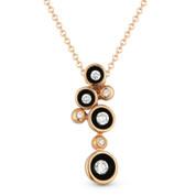 0.17ct Round Brilliant Cut Diamond Multi-Circle Enamel-Coated Scoop Bezel Pendant & Chain Necklace in 14k Rose Gold