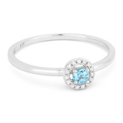 0.18ct Round Cut Blue Topaz & Diamond Circle-Halo Promise Ring in 14k White Gold