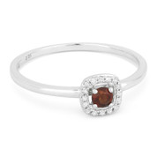 0.20ct Round Cut Garnet & Diamond Square-Halo Promise Ring in 14k White Gold
