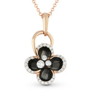 0.22ct Round Cut Diamond Black Enamel Flower Charm Pendant & Chain Necklace in 14k Rose Gold