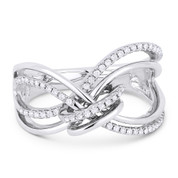 0.22ct Round Cut Diamond Right-Hand Loop & Knot Statement Ring in 14k White Gold
