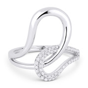 0.22ct Round Cut Diamond Overlap Loop Right-Hand Statement Ring in 14k White Gold