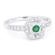 0.23ct Round Cut Emerald & Diamond Pave Antique-Style Right-Hand Flower Ring in 14k White Gold