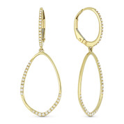 0.24ct Round Cut Diamond Open Design & Leverback Post Dangling Earrings in 14k Yellow Gold