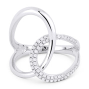 0.25ct Round Cut Diamond Pave Overlap Loop Right-Hand Statement Ring in 14k White Gold