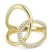 0.25ct Round Cut Diamond Right-Hand Overlap Loop Fashion Ring in 14k Yellow Gold
