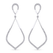 0.26ct Round Cut Diamond Pave Dangling Open-Stiletto Earrings in 14k White Gold