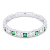 0.27ct Emerald & Diamond Bezel & Square Setting Stackable Anniversary Ring / Wedding Band in 14k White Gold